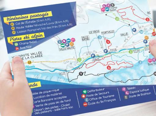 DOMAINE NORDIQUE DE NÉVACHE – Dépliant – Plan des pistes de ski de fond – 2015